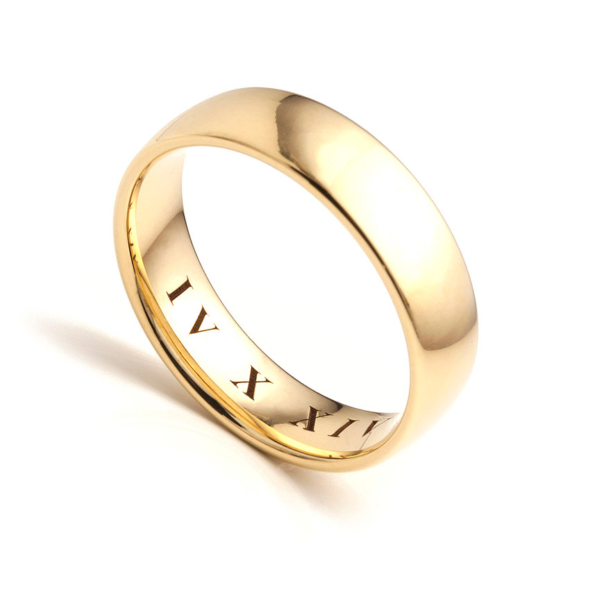 Mens roman numeral engraved wedding ring
