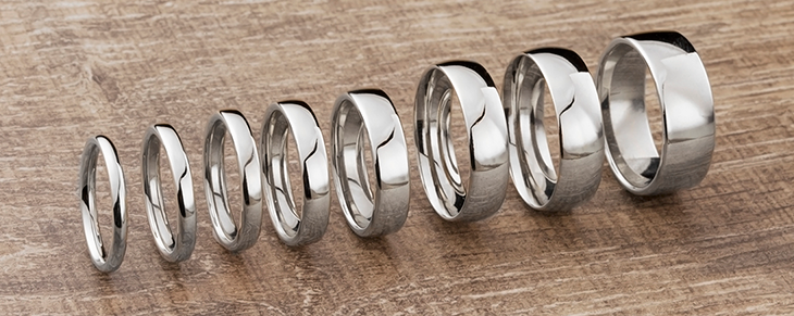 Popular wedding ring widths