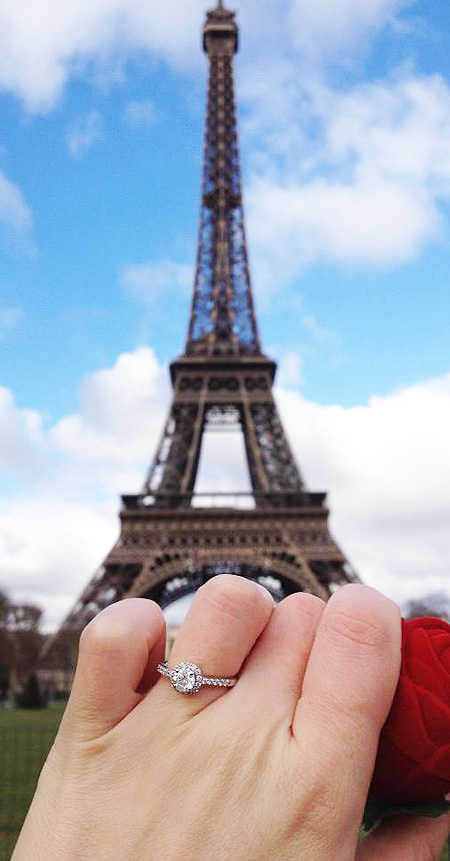 parisienne proposal with a diamond halo ring