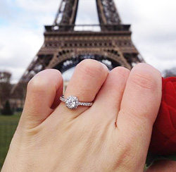 parisienne proposal with diamond halo