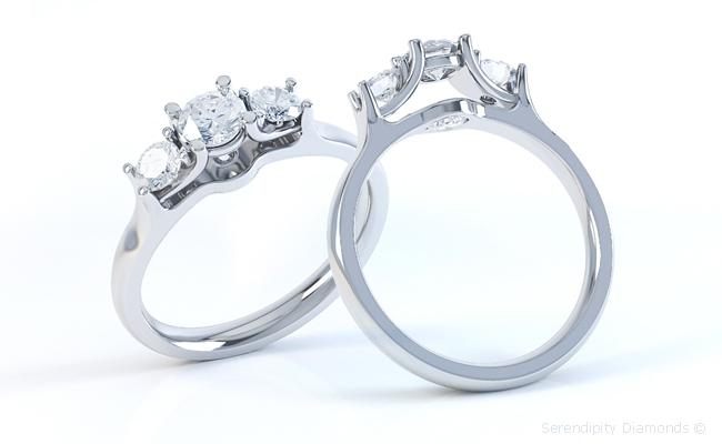 Secret diamond ring featuring kissing diamonds