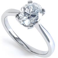 Oval engagement ring, available in white gold R1H043