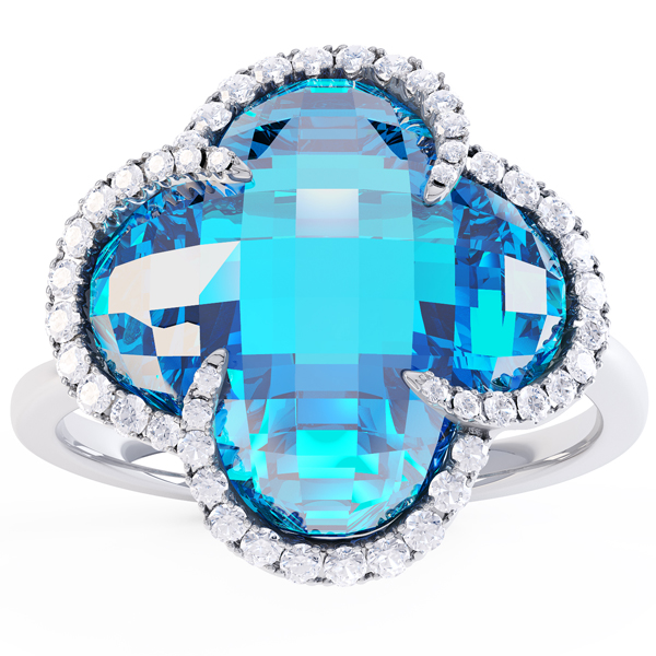 Quatrefoil blue topaz and diamond halo ring.