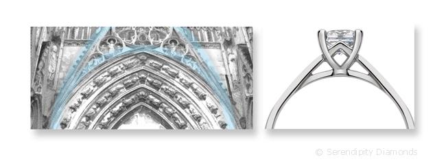 El Escenario Catedral del diamante para los anillos de compromiso