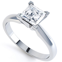 Classic princess cut setting, perfect or white gold princess engagement rings R1D011