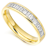 Baguette cut half eternity ring with half a carat of baguette diamonds