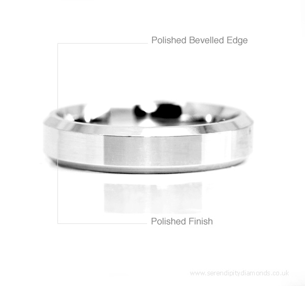 bevelled wedding rings shown here with polished finish