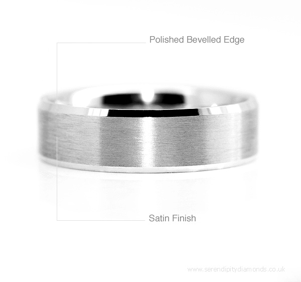 Bevelled wedding rings with satin finish and polished finish