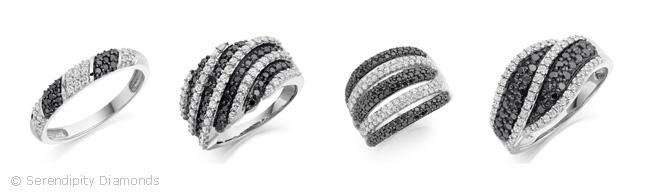 Negro boda de diamante Anillos Grupo