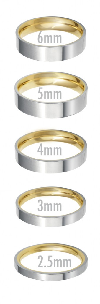 flat court wedding ring widths 25mm to 6mm - Flat Wedding Rings