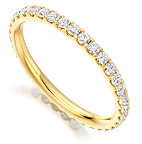 0.75 carat claw set full eternity ring with round diamonds
