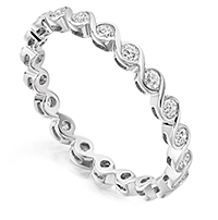 Half carat diamond eternity ring with half carat of round diamonds fully bezel set
