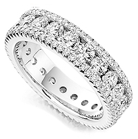 Ornate fully set diamond eternity ring pavé set with 2.80cts of diamonds