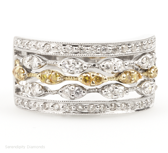 Antique Style Wedding Ring with Yellow Gold and Yellow Diamond Feature