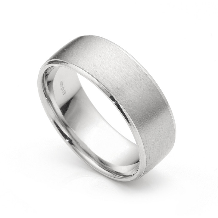 Brush Satin Finished Wedding Ring 8mm With Machined Edge