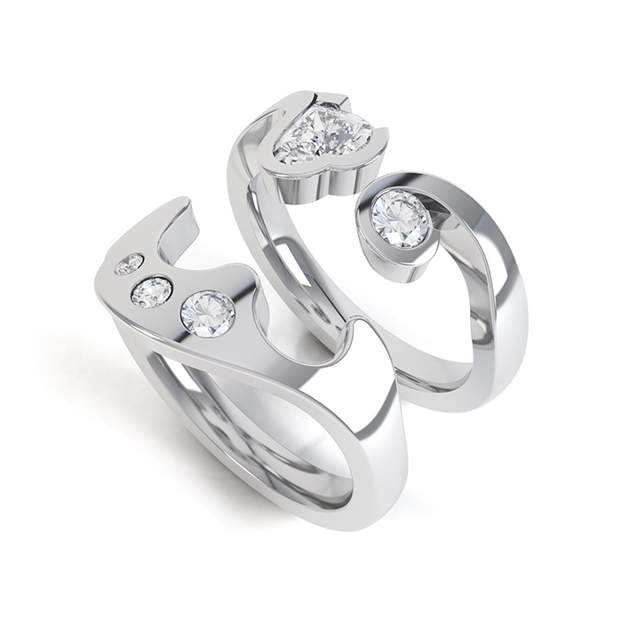 interlocking diamond rings getting a perfect fit - Interlocking Wedding Rings