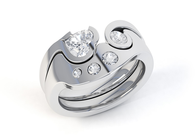 Interlocking diamond rings shown locked together