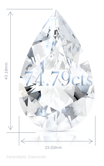 Magnificent-jewels-auction Pear Shape Diamond 74.79cts