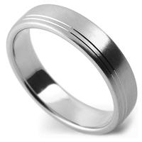 Double line satin wedding ring