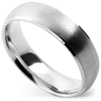 satin wedding ring with machined edges