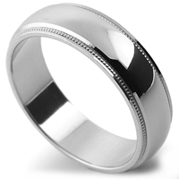 One of many patterned wedding rings with milgrain edge