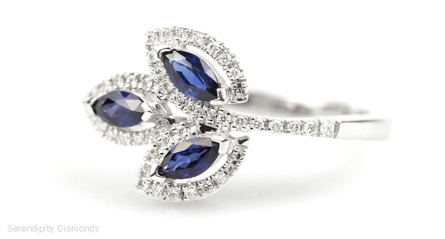 Leaf Style Diamond Rings - Blue Sapphire & Diamond Leaf Ring