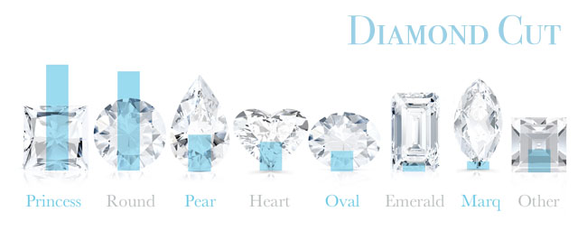Fancy diamond shapes by popularity