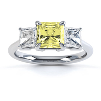 Yellow Sapphire and diamond three stone engagement ring