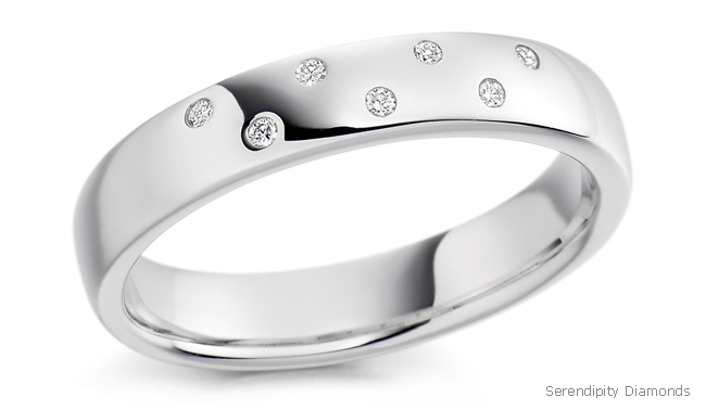 Flush Ring Settings - wedding ring with 7 flush set diamonds