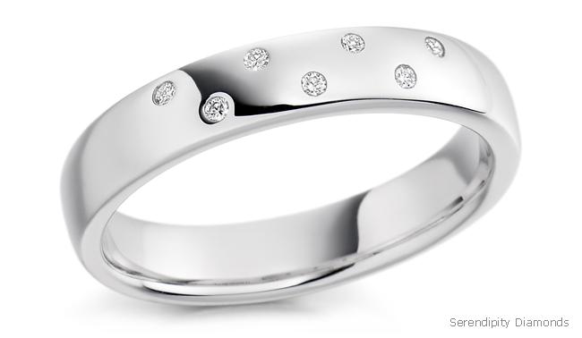 Flush Ring Settings Wedding With 7 Set Diamonds