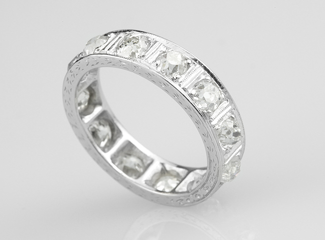 Full eternity ring in Platinum set with Old Cut diamonds.