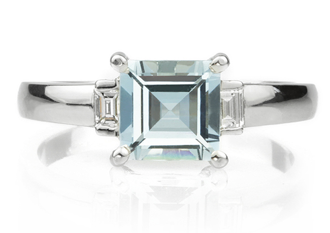 Photograph of the Day - Square Cut Aquamarine & Baguette Diamond Three Stone Ring