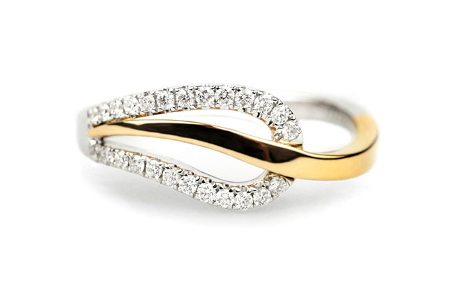 Todays Two Colour Gold Diamond Leaf Ring