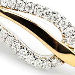 Leaf Ring with Diamonds