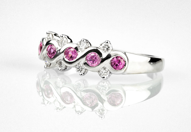 Pink Sapphire & Diamond Wedding Ring