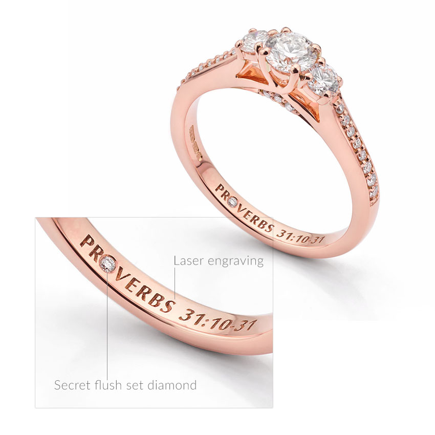 Engraved engagement ring featuring a secret flush set diamond