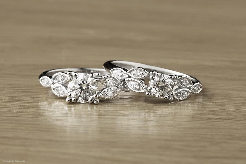 Fern vintage engagement ring in Platinum