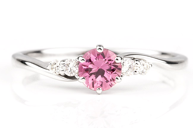 three diamond stone gold rings ring engagement pink stones gabriel white