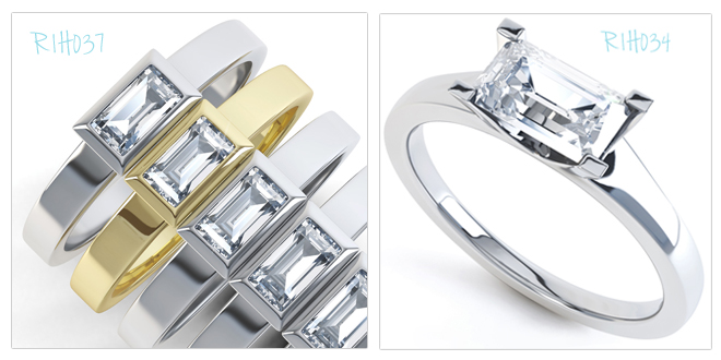 Emerald Cut and Baguette Cut Engagement rings