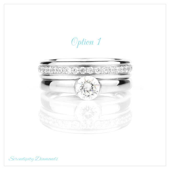Diamond wedding ring with grain set diamonds in channel