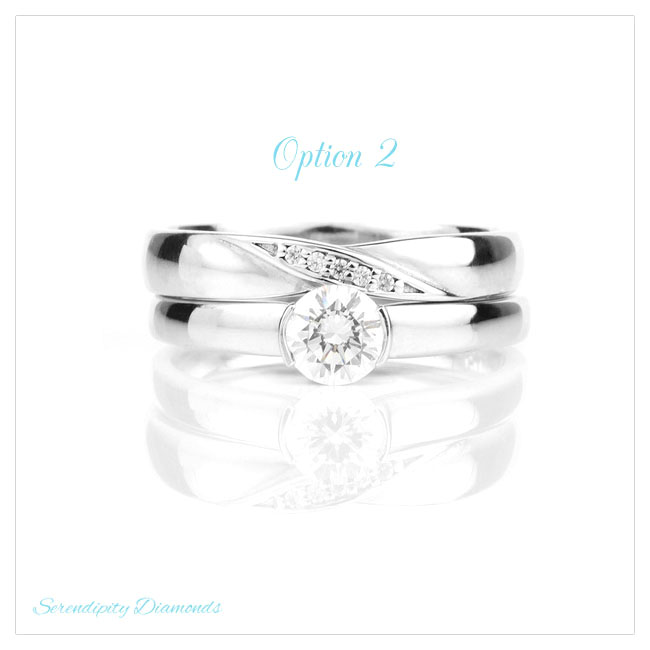 Diamond wedding ring with twist styling