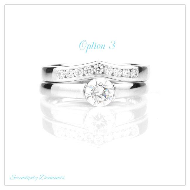 Diamond wedding ring with wishbone shape