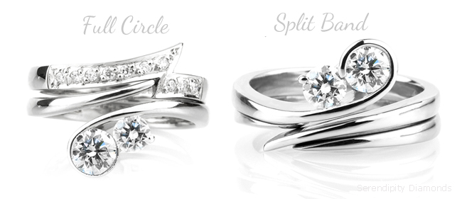 two unique wedding rings alternatively styled with full band and split band designs - Design A Wedding Ring