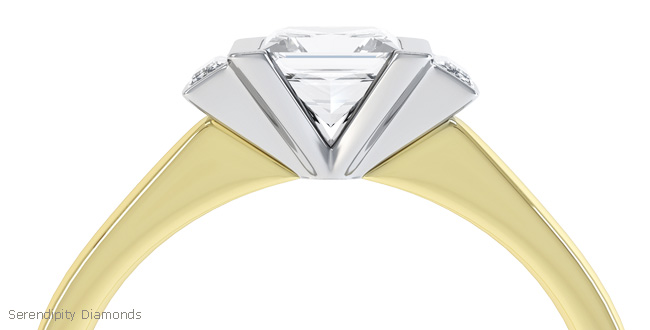 Art Deco engagement ring R3D023 shown with yellow band and platinum or white gold setting