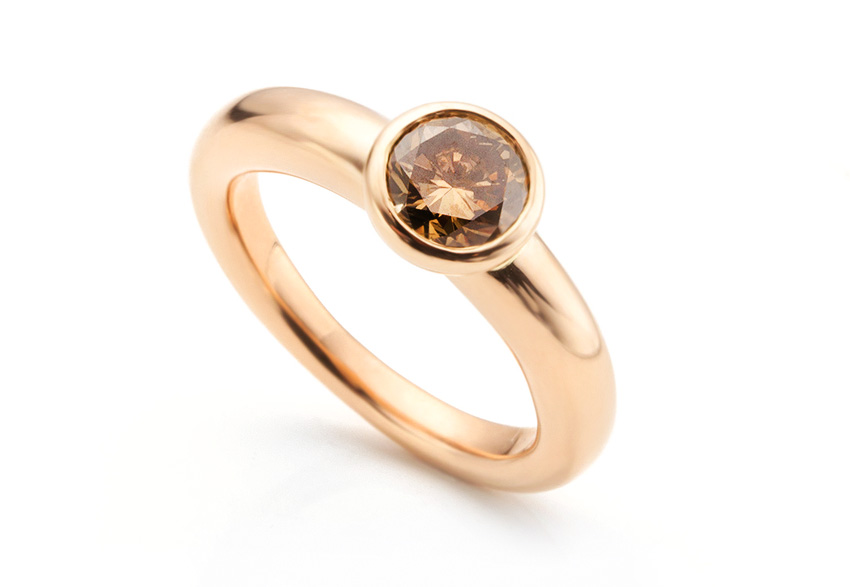 Rose gold engagement ring set with a chocolate diamond