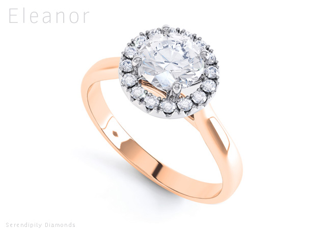 rose gold engagement rings eleanor with halo setting