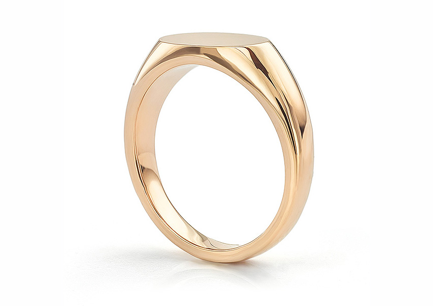 Solid Rose Gold Ladies Signet Ring