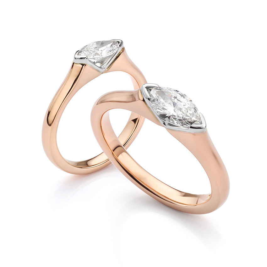 Rose gold engagement ring Atlantis set with a Marquise cut diamond