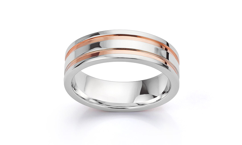 Mens wedding ring inlaid with rose gold