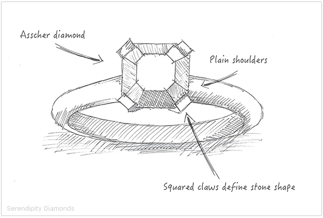 Initial sketch of the Asscher cut diamond engagement ring